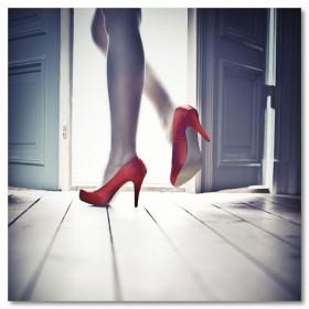 Αφίσα (γυναίκείο, πόδια, κόκκινος, παπούτσια, μαύρο, λευκό, άσπρο)